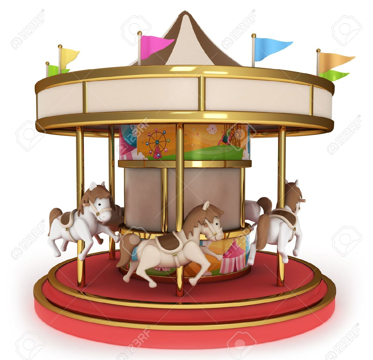 1300x1256 Animal Ride Carousel In An Amusement Park Clipart