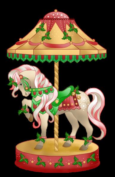 386x592 Christmas Carousel Horse Clip Art
