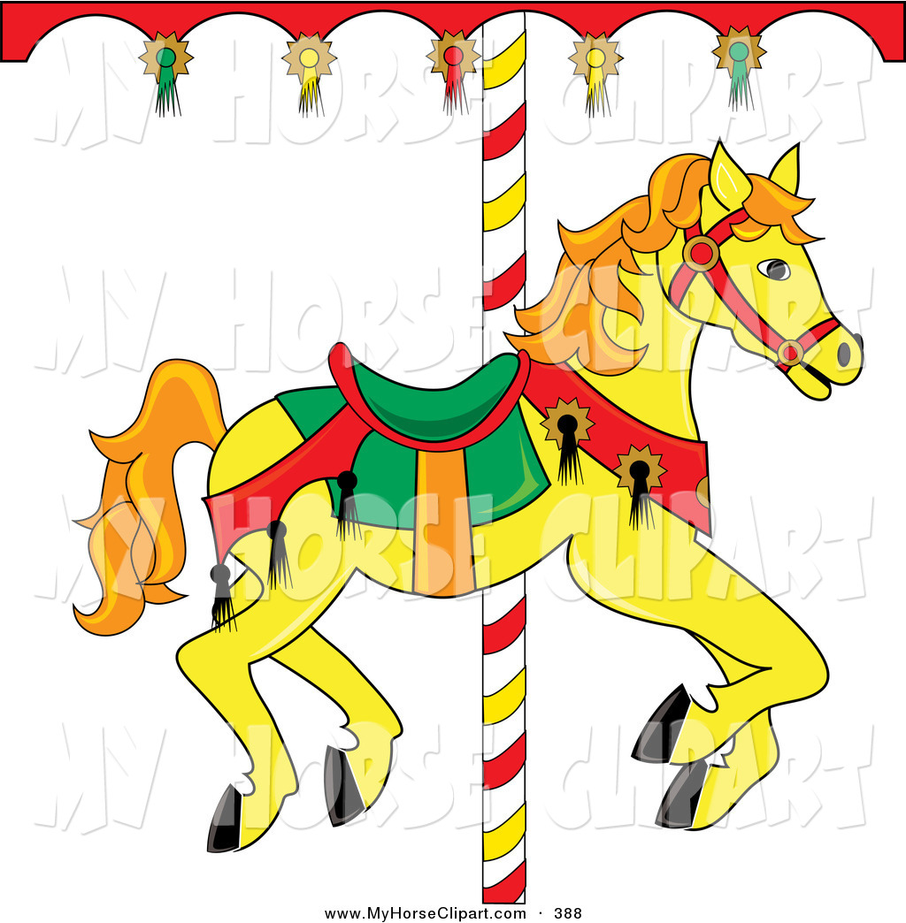 1024x1044 Clip Art Of A Yellow Carousel Horse With Orange Hair On White By
