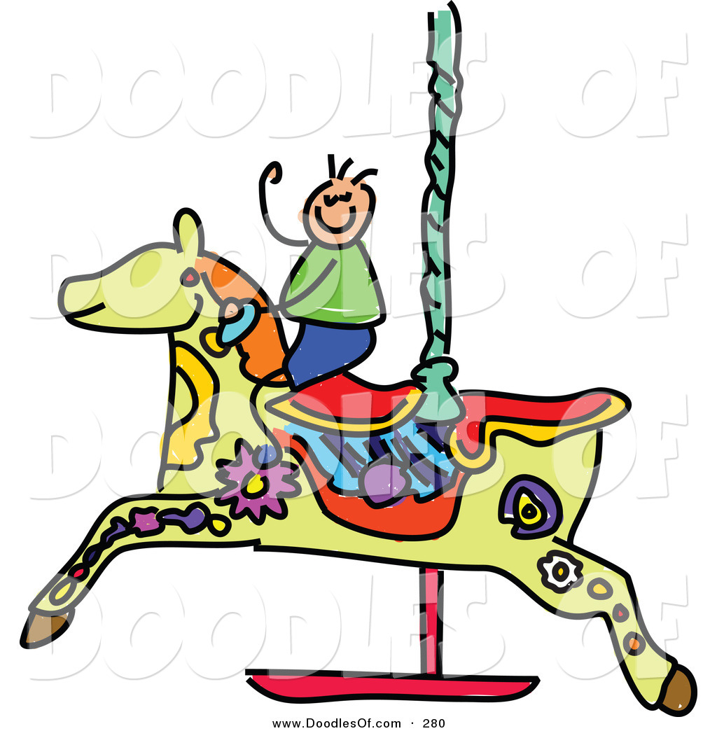1024x1044 Vector Clipart Of A Childs Sketch Of A Boy A Carousel Horse
