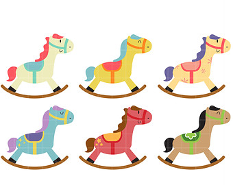 340x270 Vintage Rocking Horse Clipart