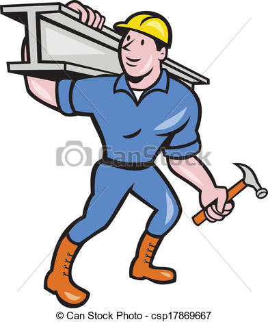 392x470 Construction Steel Worker Carry I Beam Cartoon. Illustration