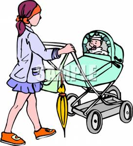273x300 A Woman Pushing A Baby In A Carriage Clipart Picture