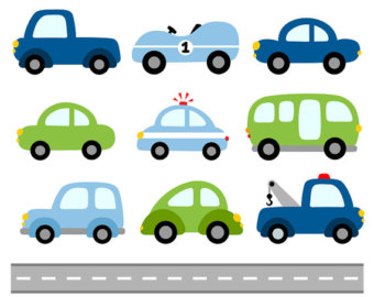 340x270 Cute Cars Digital Clip Art, Transportation Clipart, Blue Red