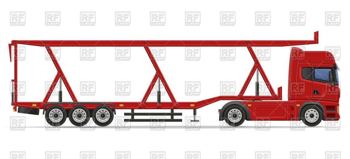 1200x546 Truck Semi Trailer For Transportation Of Cars Royalty Free Vector