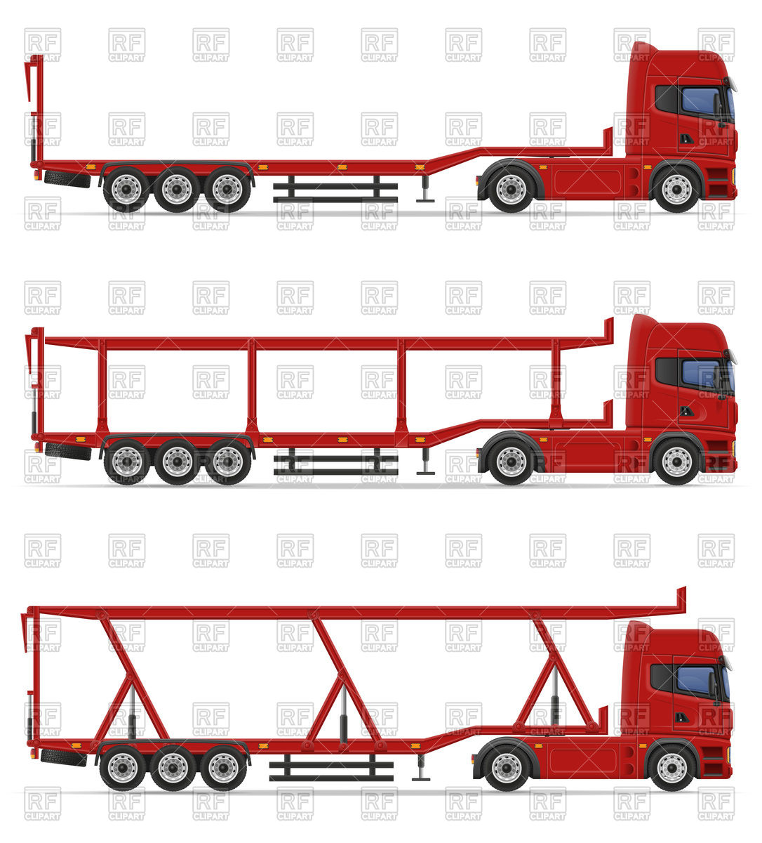 1086x1200 Truck Semi Trailers For Transportation Of Cars Royalty Free Vector