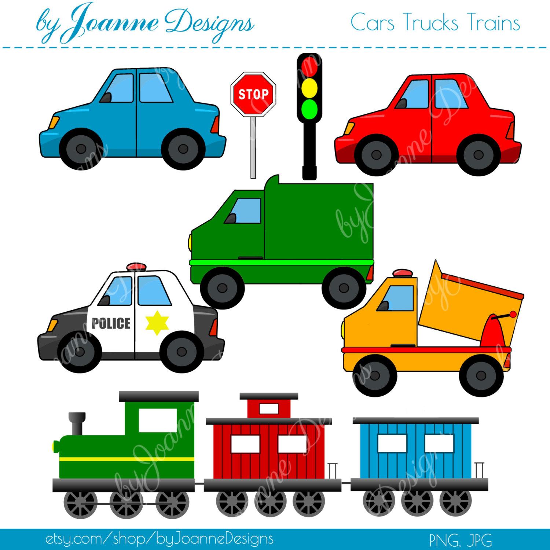 1500x1500 Cars Trucks Trains Boys Colorful Digital Clip Art