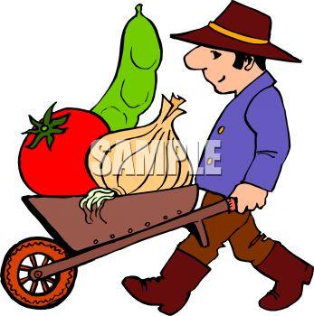 347x350 Man Pushing A Cart Full Of Veggies