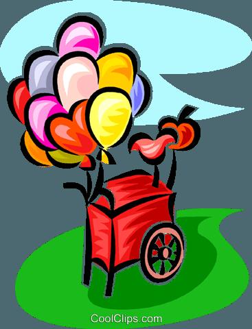 367x480 Balloon Cart Royalty Free Vector Clip Art Illustration Vc062803