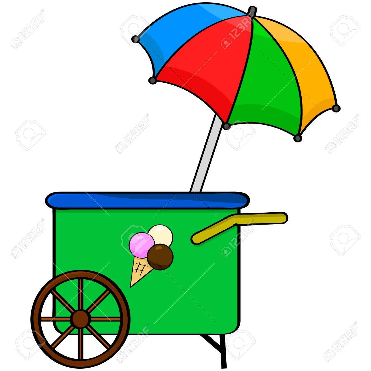 1300x1300 Ice Cream Cart Clipart 26159866 Cartoon Illustration Showing