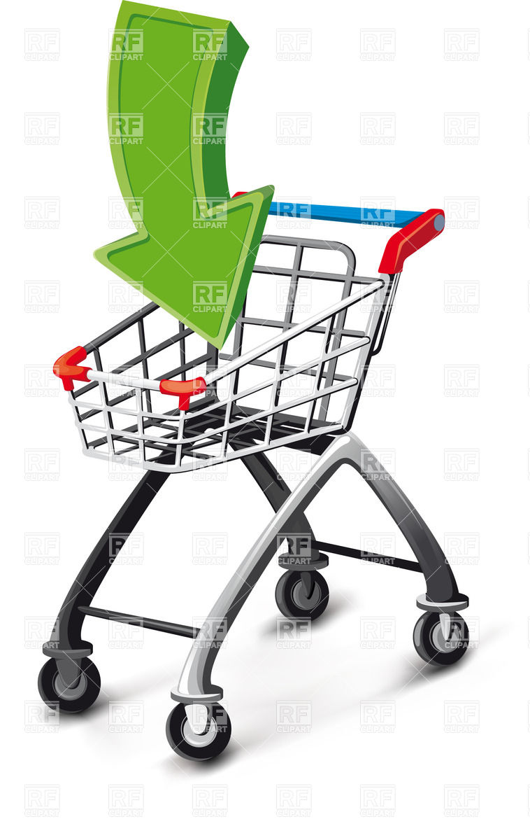 758x1200 Empty Supermarket Cart With Green Arrow Royalty Free Vector Clip