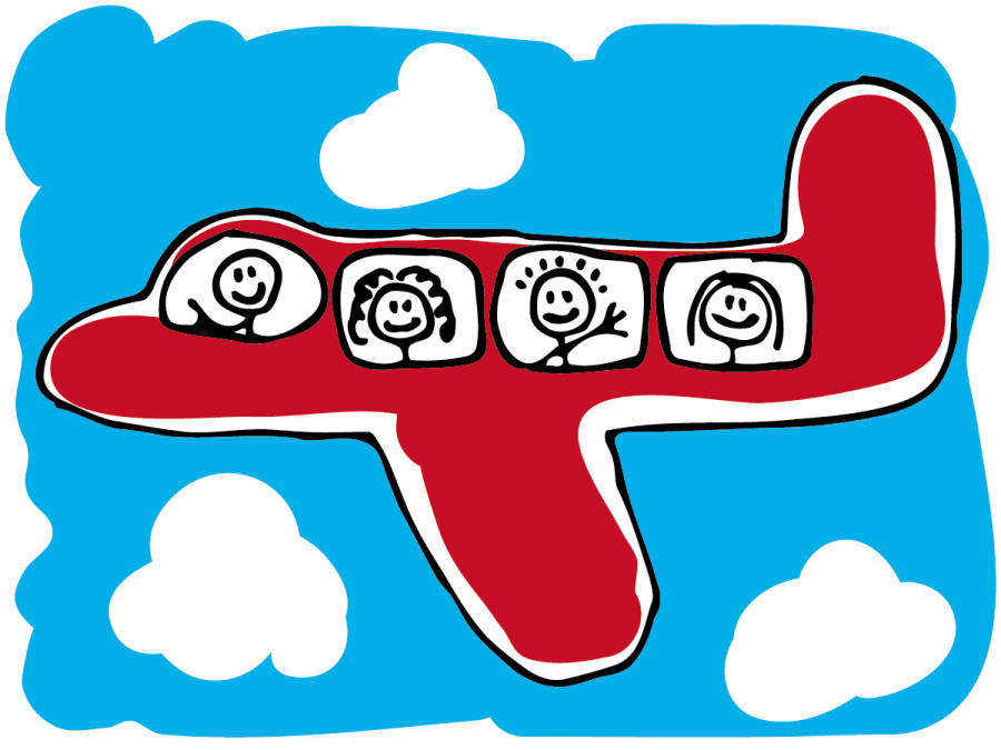 900x675 Cartoon Airplane With People
