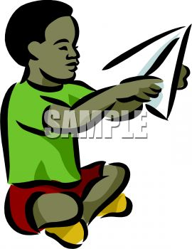 270x350 African American Boy Making A Paper Airplane