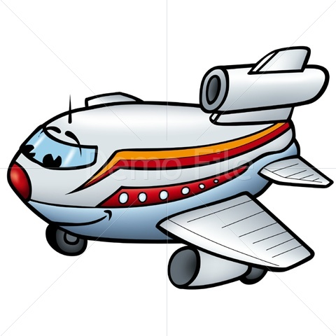 480x480 Smiling Cartoon Airplane Clipart