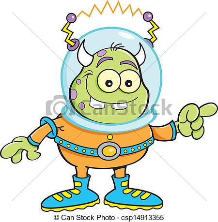 450x459 Cartoon Alien Pointing. Cartoon Illustration Of An Alien