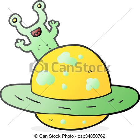 450x447 Freehand Drawn Cartoon Alien Planet Clip Art Vector
