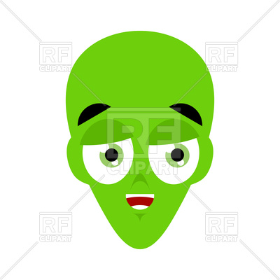 400x400 Green Cartoon Alien Face Royalty Free Vector Clip Art Image