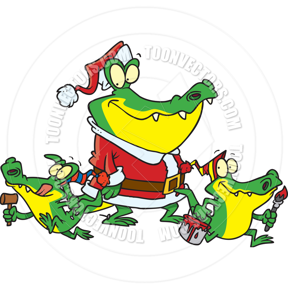 940x940 Funky Cool Green Alligator With Santa Hat Christmas Art By Clipart