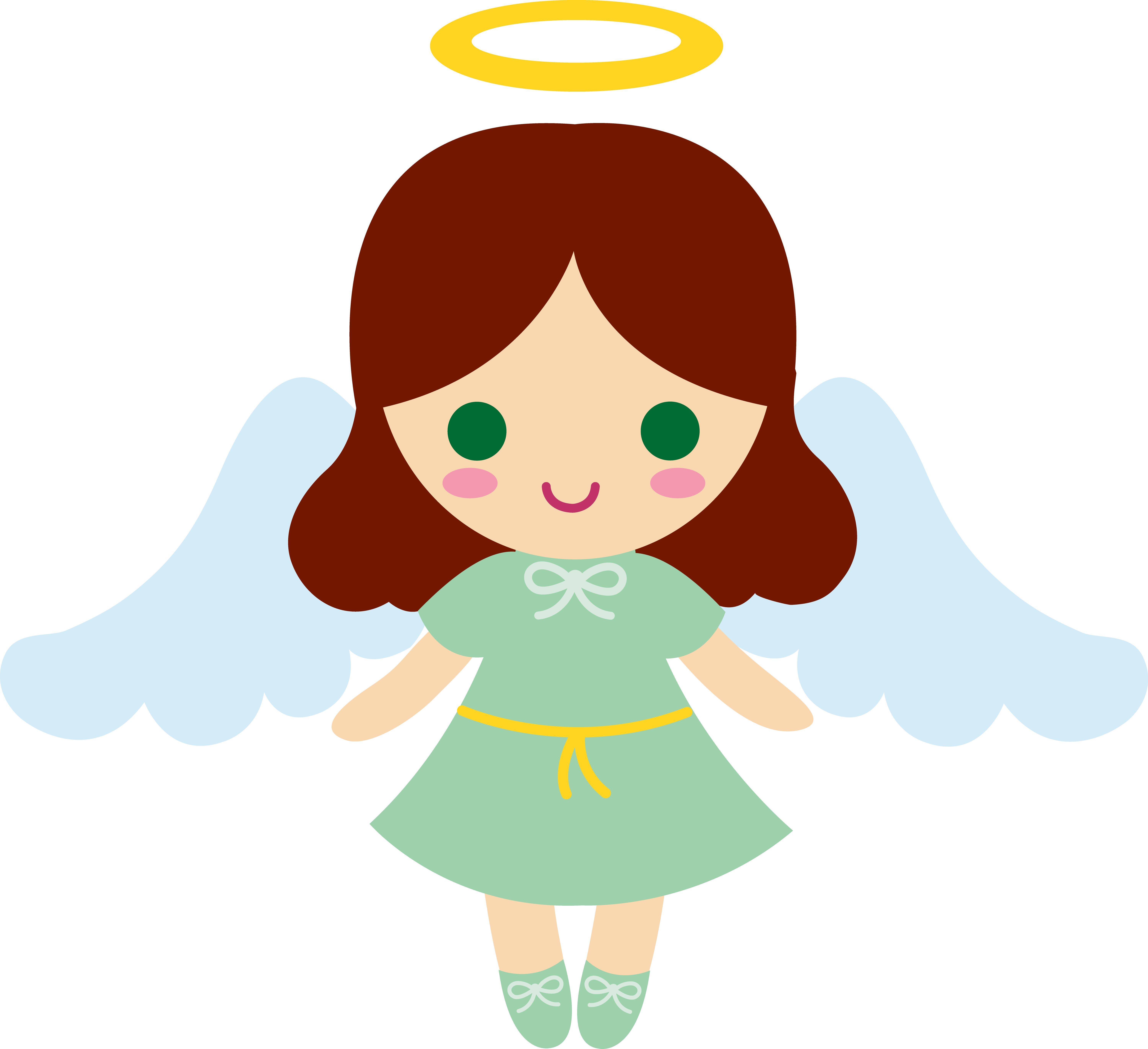 5999x5483 Angelgirl Cartoons Little Brunette Angel Girl Baby Items
