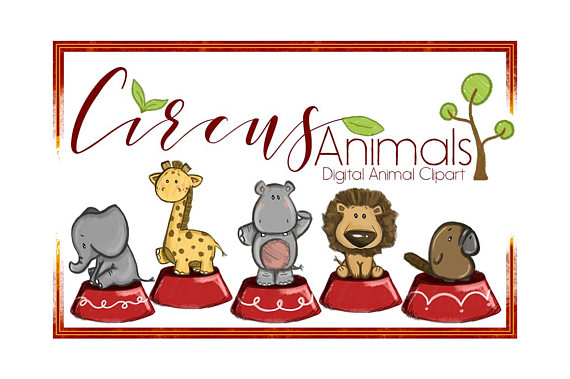 570x379 Circus Animal Clipart Watercolor Clipart Animal Clipart Cartoon