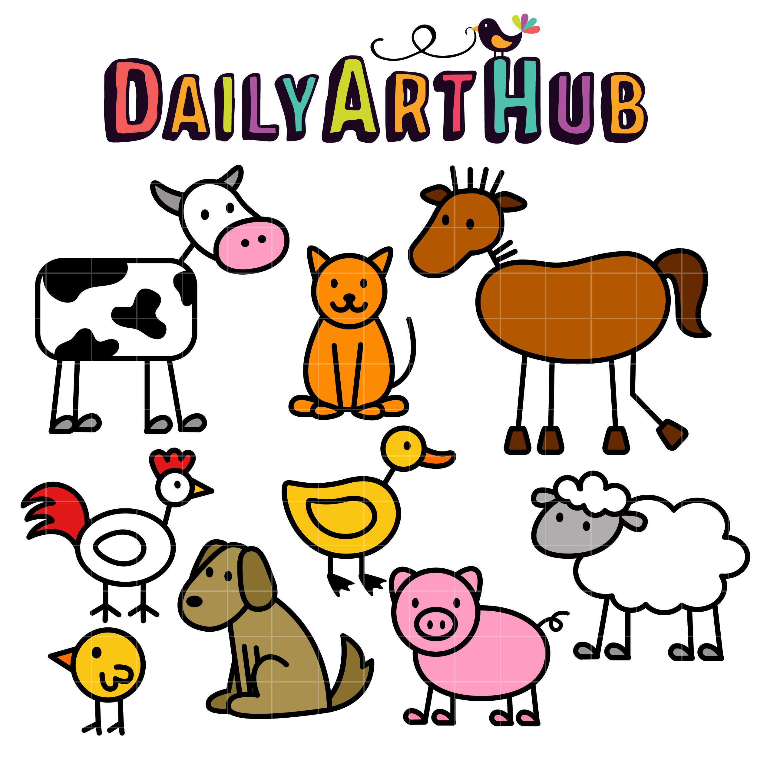 2500x2500 Stick Farm Animals Clip Art Set Daily Art Hub Free Clip Art