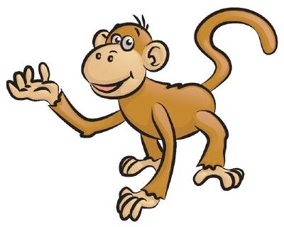 400x320 Monkey Clip Art Black And White