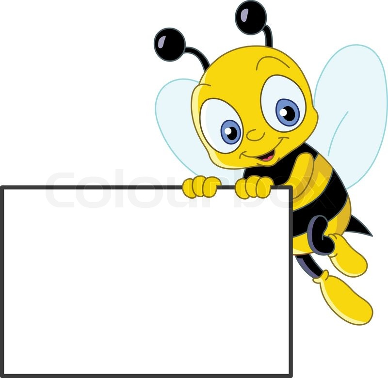 800x780 Cute Bee Holding A Blank Sign Stock Vector Colourbox