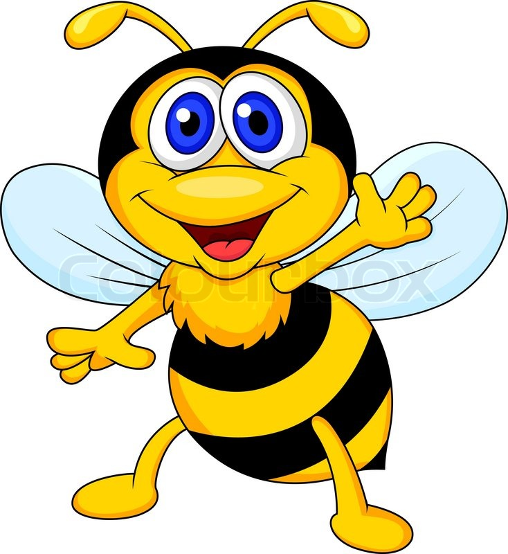 734x800 Vector Illustration Of Cute Bee Cartoon Waving Stock Vector