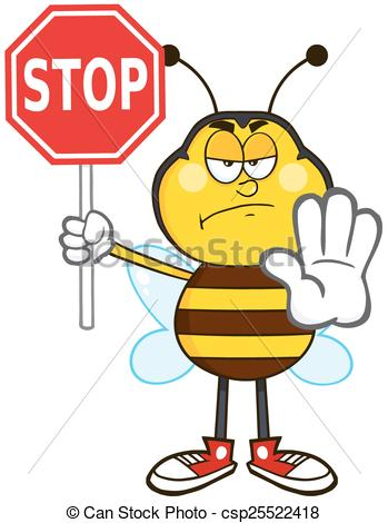 349x470 Angry Bee Holding A Stop Sign. Angry Bee Cartoon Mascot Vector