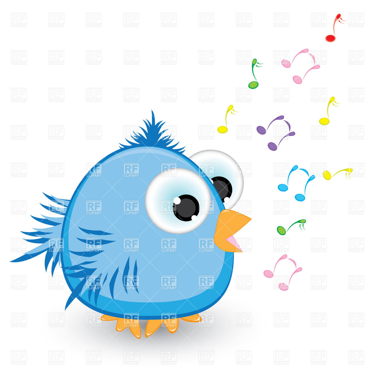 1200x1200 Cartoon Blue Singing Bird Royalty Free Vector Clip Art Image