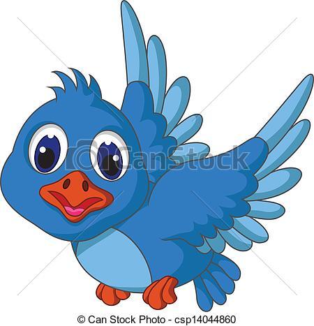 450x467 Vector Illustration Of Funny Blue Bird Cartoon Flying Clip Art