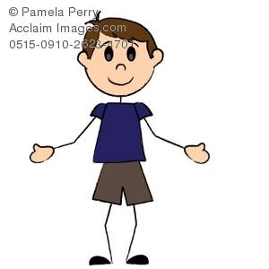 300x300 Cartoon Stick Figure Boy Wearing Shorts Clip Art Picture