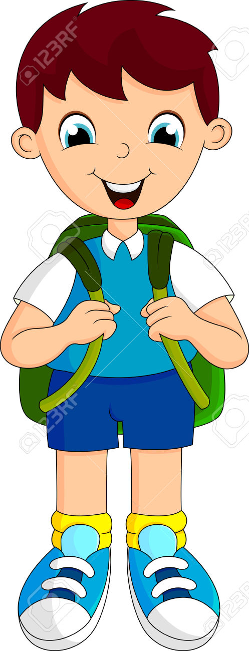 497x1300 Cartoon Boy With Backpack Clipart