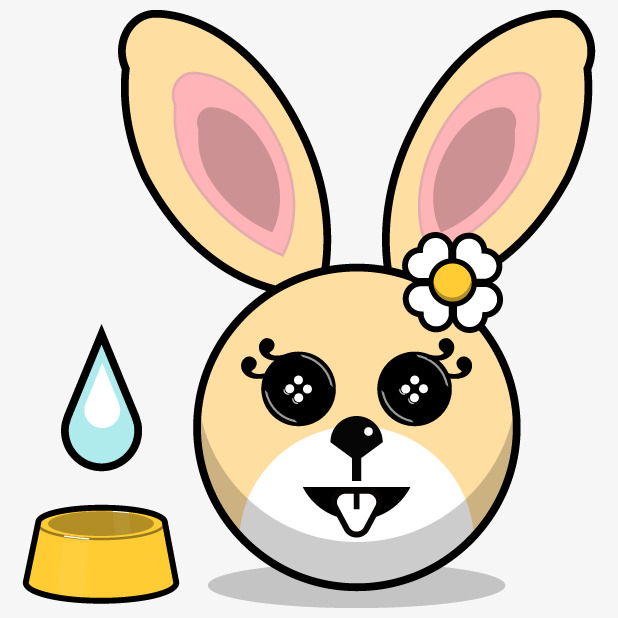 618x618 Rabbit Head,hand Painted Rabbit,flower,cartoon Bunny, Rabbit Head
