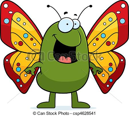 450x404 Butterfly Smiling. A Happy Cartoon Butterfly Standing