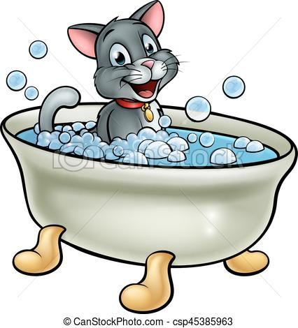 426x470 A Cartoon Cat Washing In The Bath With Bubbles Clip Art Vector