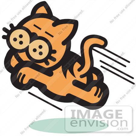 450x450 Royalty Free Cartoon Clip Art Of An Happy Cat Running And Jumping