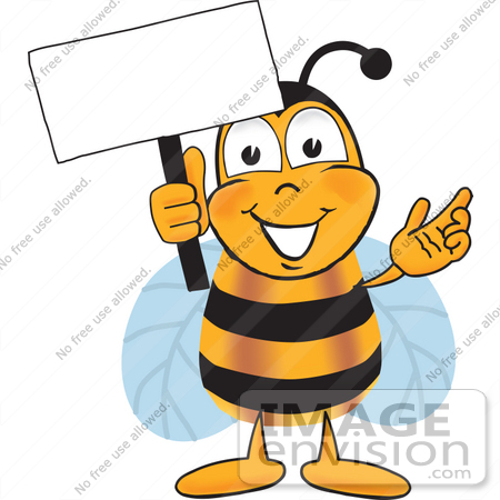450x450 Clip Art Graphic Of A Honey Bee Cartoon Character Holding A Blank