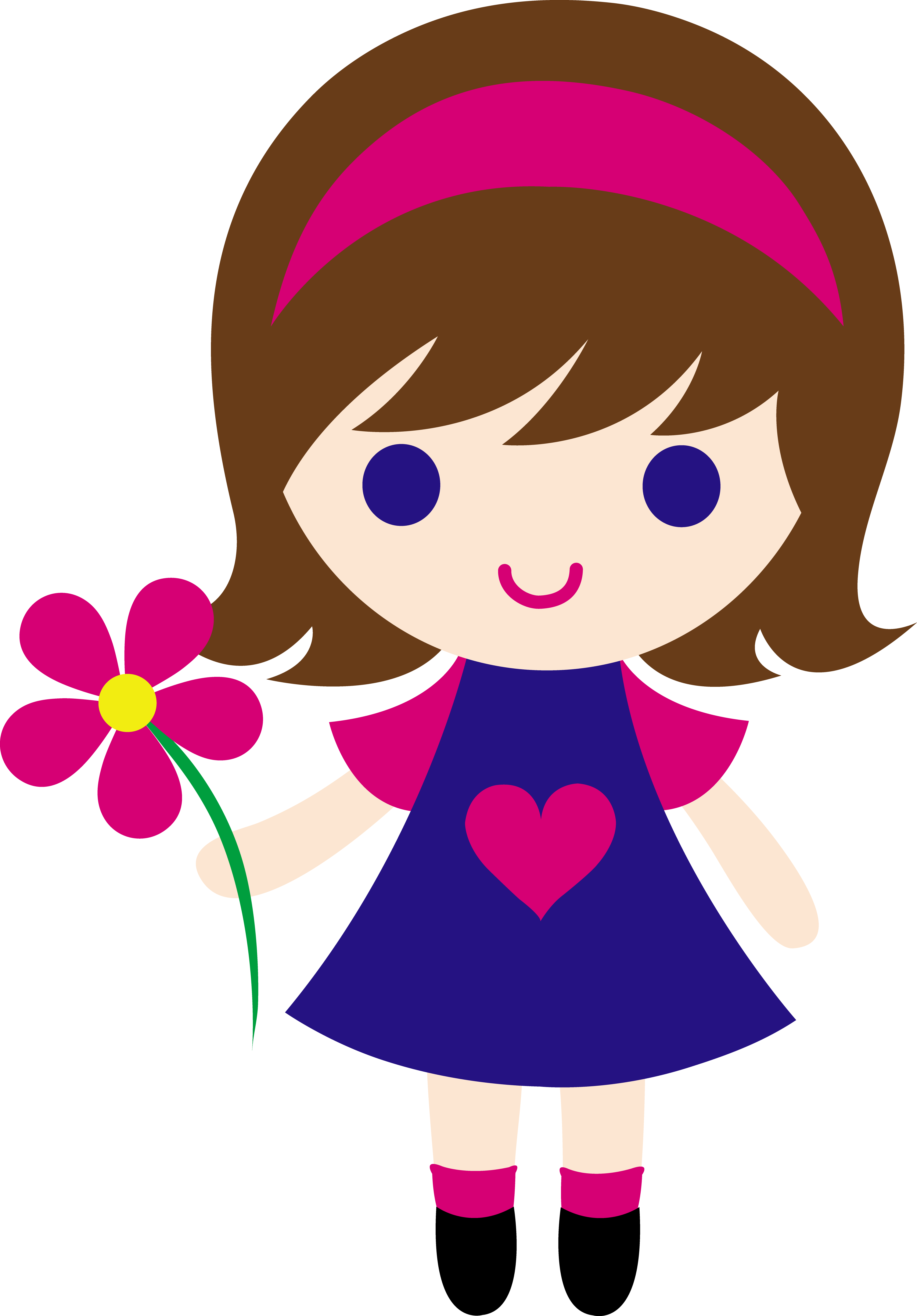 4330x6214 My Clip Art Of A Little Girl Holding A Pink Daisy. Sweet Clip