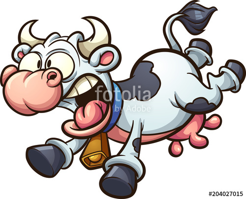 500x405 Crazy Cartoon Cow Running Scared. Vector Clip Art Illustration