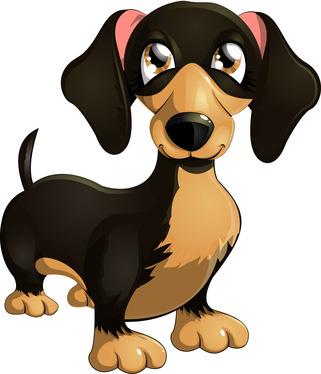 321x374 Clip Art Of Cartoon Dachshund Dog