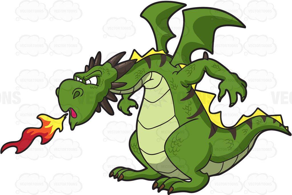 1024x682 Dragon Clipart A Fierce Dragon Spitting Out Fire Cartoon Clipart