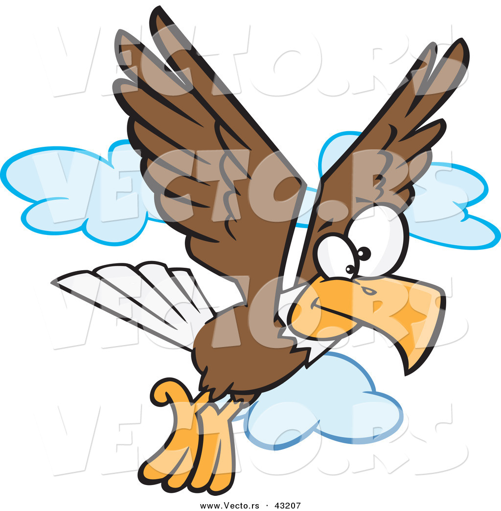 1024x1044 Vector Of A Cartoon Bald Eagle Flying With Clouds By Toonaday