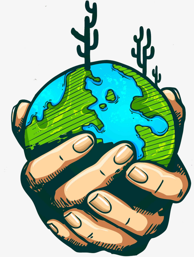 650x861 Protect The Earth, Cartoon, Hand Painted, Finger Png Image