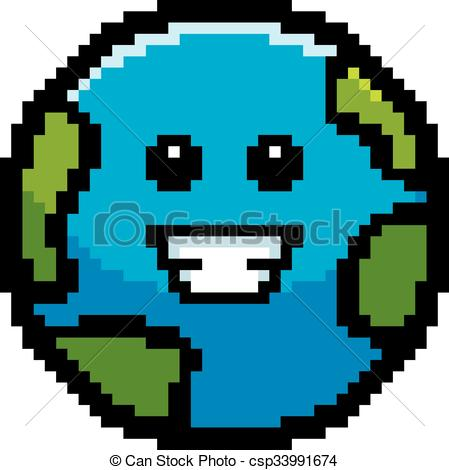 449x470 Smiling 8 Bit Cartoon Earth. An Illustration Of A Planet