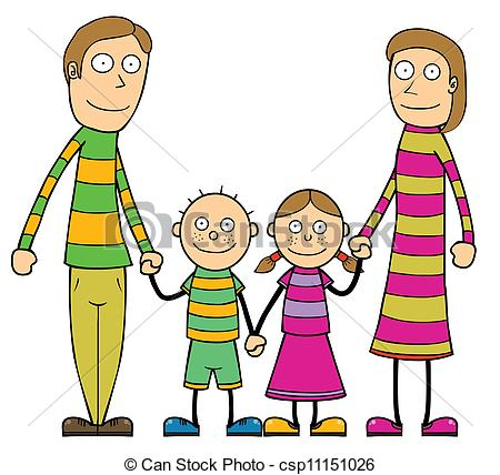 450x428 Happy Cartoon Family. Represent A Cartoon Family Vector