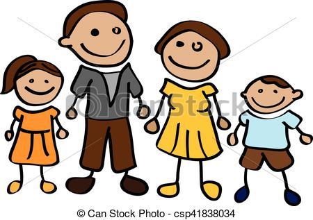 450x317 Stickman Happy Cartoon Family Vector Illustration. Vectors