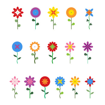 350x350 16 Flowers Clipart, Floral Clipart, Cartoon Flowers, Spring