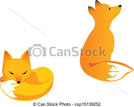 450x362 Young Fox. Fox Cub In Two Poses Curled Up And Siring Clipart