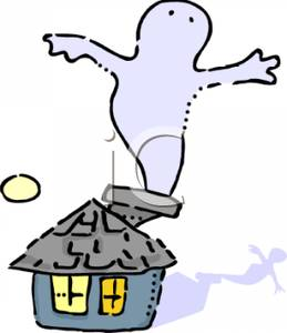 259x300 Cartoon Of A Ghost Going Down A Chimney Of A House